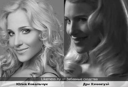 Юлия Ковальчук похожа на Дри Хэмингуэй