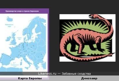 Карта Европы вдруг напомнила динозаврика..