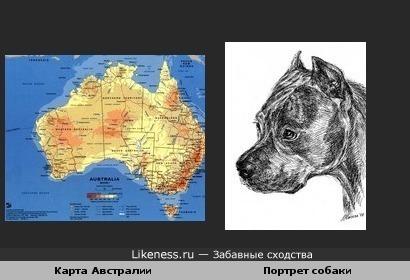 Карта Австралии с детства напоминает мне морду собаки.