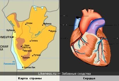 Карта Демократической Республики Конго напоминает сердце.