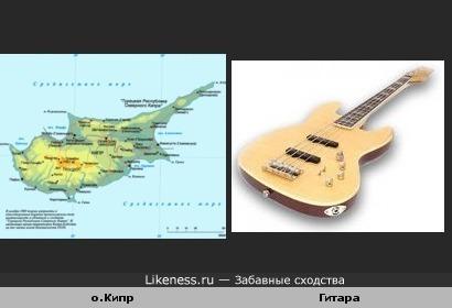 Карта острова напоминает гитару.