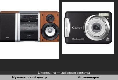 Музыкальный центр и фотоаппарат