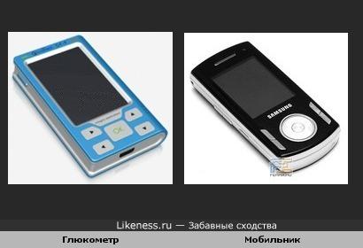 Эта модель глюкометра похожа на этот телефон