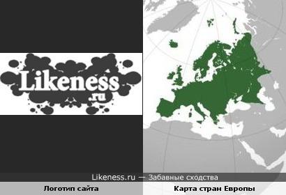 Логотип сайта и карта стран Европы