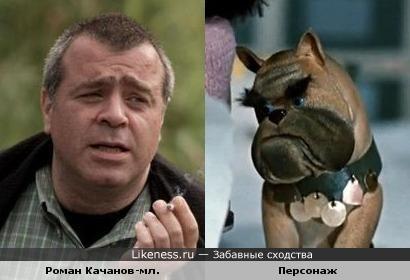 "Роман Качанов-мл. и персонаж м-ф ""Варежка"""