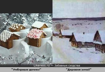 """Украшения для чашек """"Имбирные домики"""" и картина Исаака Левитана """"Деревня зимой"""""""