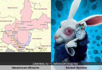 """Карта Иркутской области напомнила Белого Кролика из """"Алисы в Стране Чудес"""""""