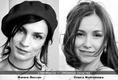Актрисы Фамке Янссен и Ольга Филиппова