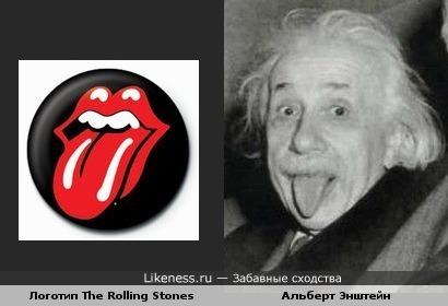 Логотип The Rolling Stones напоминает знаменитое фото Энштейна