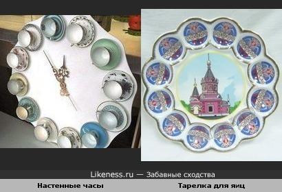Дизайнерские часы и тарелка для яиц