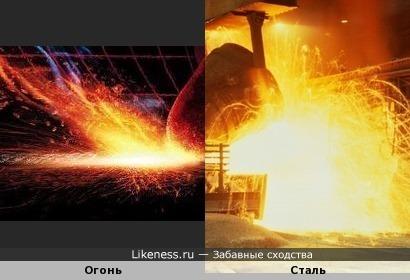 Макрофография спички в момент зажигания и льющаяся сталь