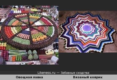 Креативно украшенная овощная лавка напомнила бабушкин вязаный коврик