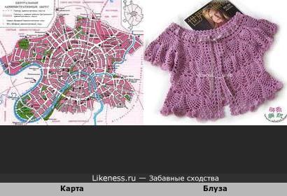 Карта Центрального административного округа Москвы напомнила женскую блузу