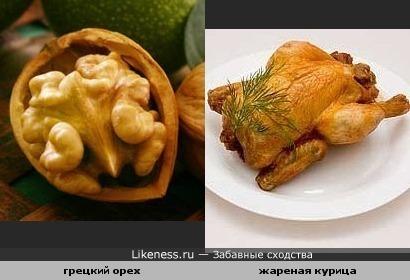 Грецкий орех похож на жареную курочку