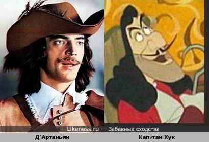 Д'Артаньян похож на Капитана Хука (Captain Hook) из Диснея