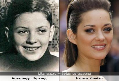 актер Александр Ширвиндт (на детском фото) и актриса Марион Котийяр немного похожи