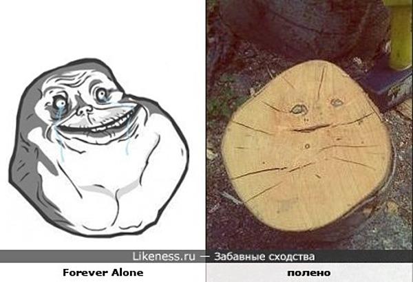 полено и интернет-мем Forever Alone немного похожи ;)