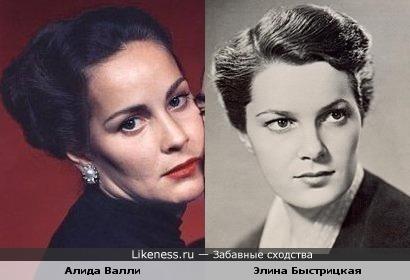 Актрисы Алида Валли и Элина Быстрицкая