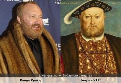 Актёр Рэнди Куэйд и портрет короля Генриха VIII