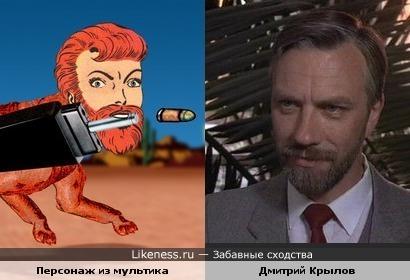 Тележурналист Дмитрий Крылов и персонаж из мультфильма