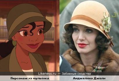 """Анджелина Джоли в к/ф """"Подмена"""" и персонаж мультфильма """" Принцесса и лягушка"""""""