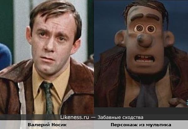 """Актёр Валерий Носик и персонаж мультфильма """"Побег из курятника"""""""