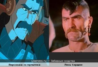 Актёр Лесь Сердюк и персонаж из мультфильма