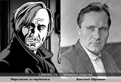"Персонаж из м/ф ""Alois Nebel"" и актёр Василий Шукшин"