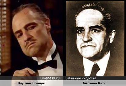 Философ Антонио Касо и актёр Марлон Брандо в к/ф Крёстный отец