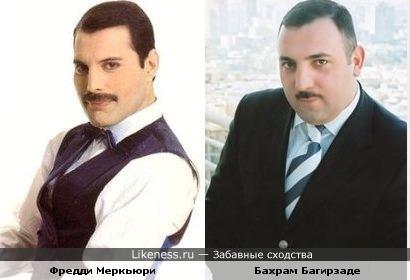 """Участник команды КВН """"Азербайджан"""" Бахрам Багирзаде и певец Фредди Меркьюри"""