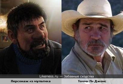 "Персонаж м/ф ""Приключения Тинтина"" и актёр Томми Ли Джонс"