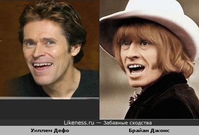 "Актёр Уиллем Дефо и музыкант гр.""The Rolling Stones"" Брайан Джонс"