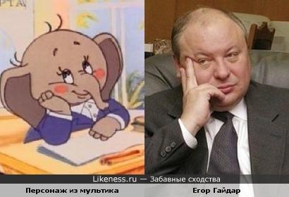 """Персонаж м/ф """"Слоненок и письмо"""" и Егор Гайдар"""