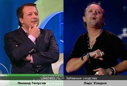 """Журналист Леонид Генусов и ударник Ларс Ульрих (""""Metallica"""")"""