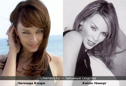 Певица Кайли Миноуг и актриса Мелинда Кларк