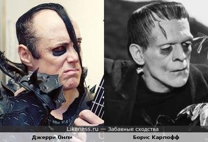 "Франкенштейн ( Борис Карлофф) и вокалист ""The Misfits"" Джерри Онли"
