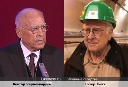 Учёный-физик Питер Хиггс и Виктор Черномырдин