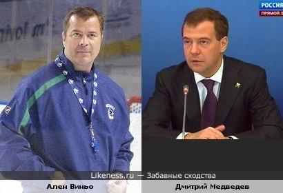 Тренер «Ванкувер Кэнакс» Ален Виньо и Дмитрий Медведев