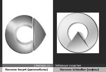 Логотип автомобилей Smart напоминает логотип лифтов Schindler