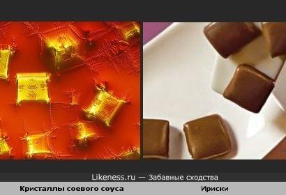 Кристаллизованный соевый соус под микроскопом похож на ириски.
