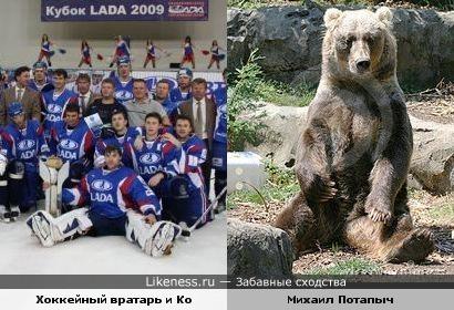 Сидячие позы хоккейного вратаря и Михаила Потапыча :-)