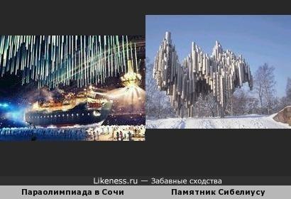 Элемент церемонии открытия сочинских папаолимпийских игр напомнил памятник Сибелиусу
