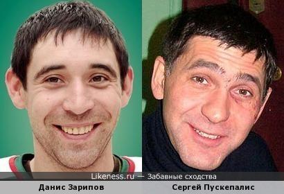 Хоккеист Данис Зарипов и актер Сергей Пускепалис