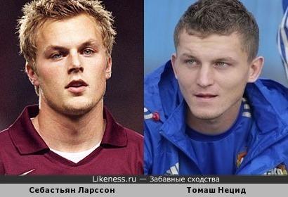 Футболисты Себастьян Ларссон и Томаш Нецид