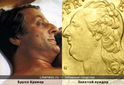 Аверс золотого луидора образца 1786 года напомнил профиль актёра Бруно Кремера