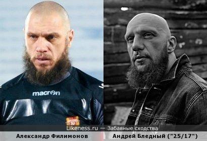 """Вратарь Александр Филимонов и участник рэп-группы """"25/17"""