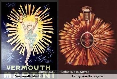 Рекламные постеры коньяка и мартини похожи