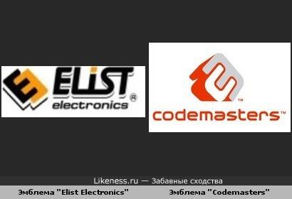 """эмблема """"Elist Electronics"""" похожа на эмблему """"Codemasters"""""""