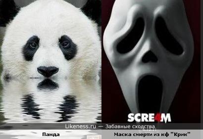 """Панда похожа на маску из к\ф """"Крик"""""""