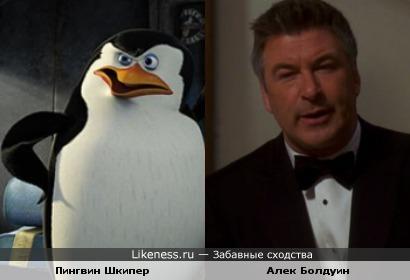 Пингвин Шкипер похож на Алека Болдуина